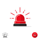 Emergency icon isolated on white background, ambulance siren light, police car flasher, red alert logo vector illustration