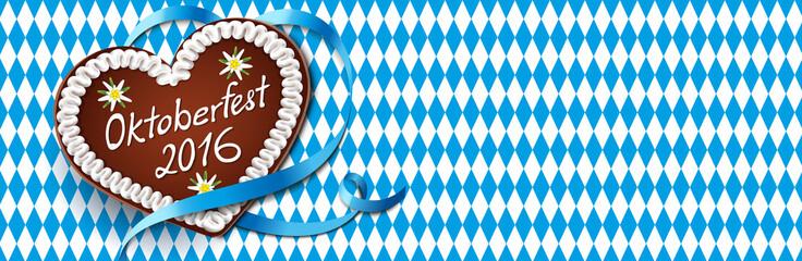 Oktoberfest 2016 Banner  - Lebkuchenherz mit Schleife und Rautenhintergrund