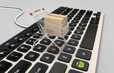 Caddie e-commerce sur clavier d'informatique - 115618436