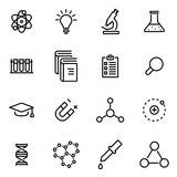 Vector illustration of thin line icons - science