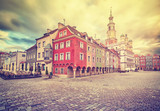 Vintage stylized Old Market Square and Town Hall in Poznan, Poland.