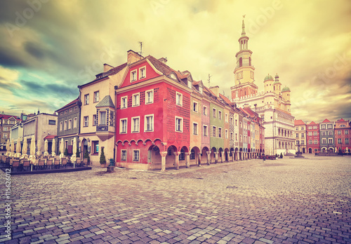 obraz PCV Vintage stylized Old Market Square and Town Hall in Poznan, Poland.