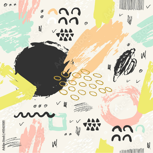 Trendy seampless pattern with brush strokes. - 115631081