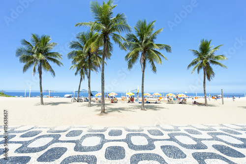 Foto op Aluminium Rio de Janeiro Classic empty view of the Ipanema Beach boardwalk with palm trees and blue sky and no people in Rio de Janeiro, Brazil