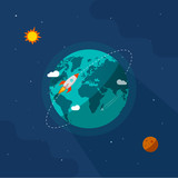 Fototapety Earth in space vector illustration, rocket space ship flying around planet orbit on solar system universe, moon, starts flat cartoon design