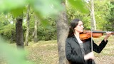 camera look on the young attractive woman plays on the violin in the forest through the branches with leaves