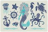 Marine illustrations set. Mermaid drawing. Octopus. Ocean turtle. Ship wheel. Binocular. Sea horse. Jellyfish. Anchor.