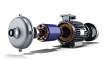 electric motor in disassembled state 3d illustration on a white - 115653070