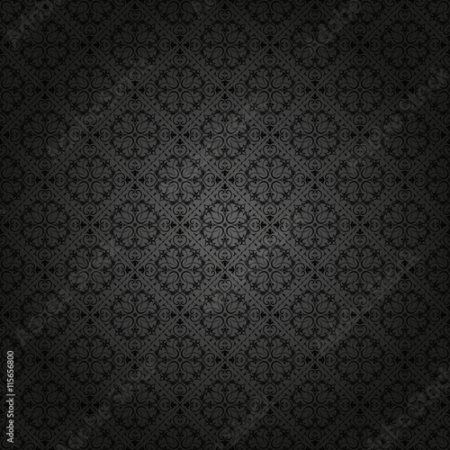 obraz lub plakat Seamless background of black color in the style of Damascus