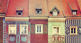 Retro toned colorful houses on Poznan Old Market Square, Poland.