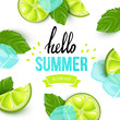 Summer colorful poster. Vector background with fruits. Hello summer handwritten text. - 115661279