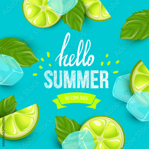 Summer colorful poster. Vector background with fruits. Hello summer handwritten text. - 115661280