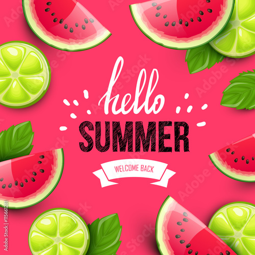 Summer colorful poster. Vector background with fruits. Hello summer handwritten text. - 115661281