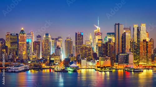 Foto op Aluminium New York View on Manhattan at night, New York, USA