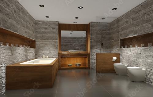 GamesAgeddon - modernes Badezimmer mit Holz und Stein, bathroom ...