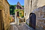 Fototapety Quaint lane in the beautiful Dordogne village of Beynac, France