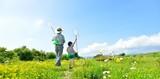 Fototapety 青空と花の草原で遊ぶ家族