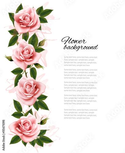 Zdjęcia na płótnie, fototapety, obrazy : Flower background with beauty pink roses. Vector.