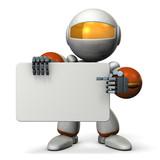 メッセージボードを抱えたロボット