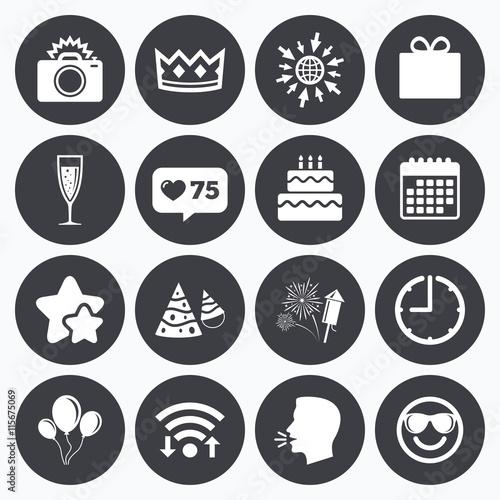 Zdjęcia na płótnie, fototapety, obrazy : Party celebration, birthday icons. Fireworks.