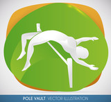 Pole Vaulter Silhouette doing a Great Jump, Vector Illustration