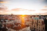 Prague, Czech Republic - 04 July 2016. The summer photo sunset over Praha, Chezh Republic capital like a point of travel destination.