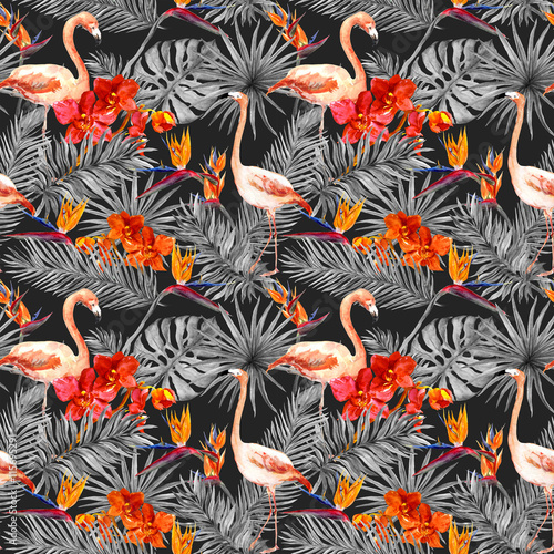 Flamingo, tropical leaves, exotic flowers. Seamless pattern, black background. Watercolor - 115695291