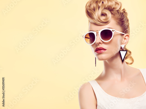Fashion portrait Hipster Model woman, Stylish hairstyle Poster