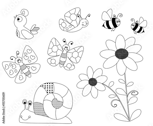 spring coloring pages for children - vectors illustration with a flower, flying bees,, butterflies