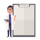 Happy doctor character design showing blank clipboard sign for p