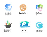 Fototapety Alternative medicine and wellness, yoga concept - vector watercolor icons