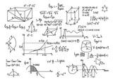 Fototapety Hand drawn geometry formulas Science knowledge education.