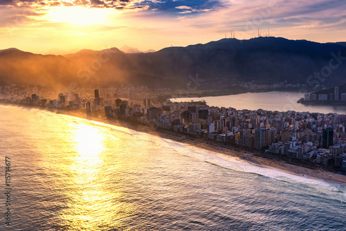 Poster Ipanema beach at sunset
