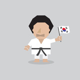 Taekwondo Man With South Korean Flag Vector Illustration.