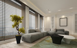 Fancy apartment living room interior with blinds - 115722009