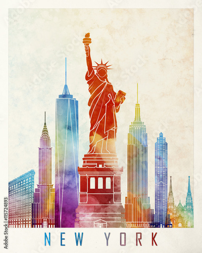 New York landmarks watercolor poster