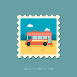 Double decker open top sightseeing city bus stamp