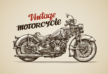 Vintage motorcycle. Hand drawn motorbike. Vector illustration © ~ Bitter ~