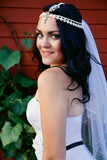Bride in a beautiful dress and long veil