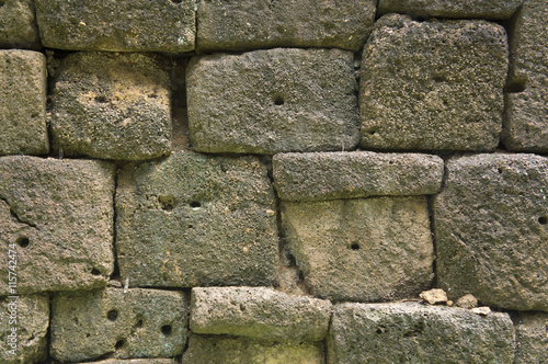 rock wall old ancient rural brick pattern cement