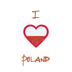 I love Poland t-shirt design. Poland flag in the shape of heart