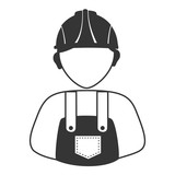 Worker with helmet and coveralls avatar profile, vector illustration.