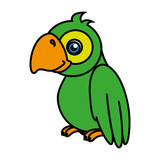 Parrot cute pet graphic design, vector illustration isolated icon.