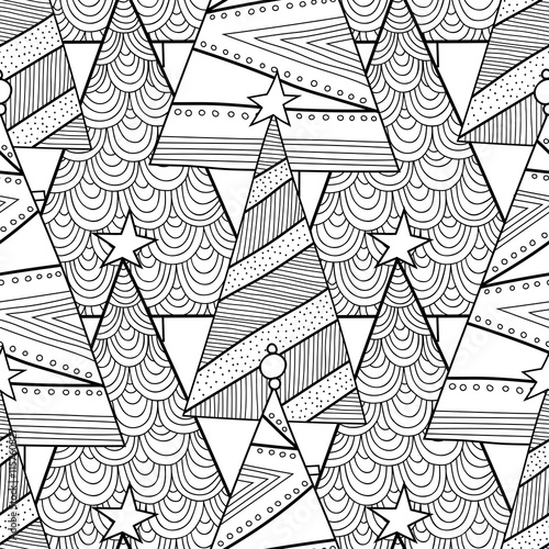 Cotton fabric Black and white pattern with Christmas trees for coloring book.