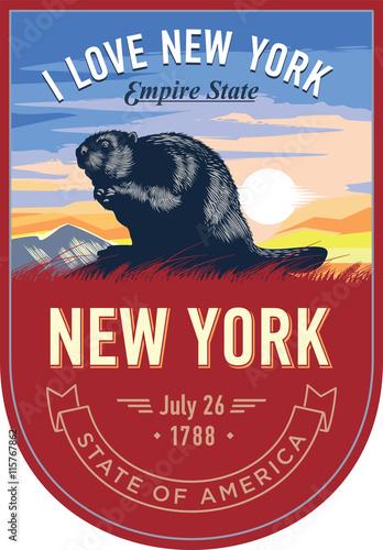 Zdjęcia na płótnie, fototapety, obrazy : Нью-Йорк, стилизованная эмблема штата Америки, Бобр на рассвете на красном фоне