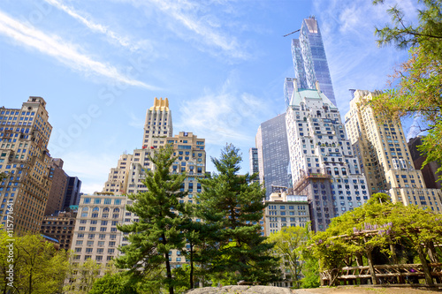 Central Park with Manhattan skyscrapers in New York City