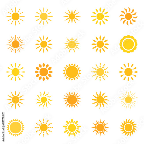 Set of sun icons, vector illustration