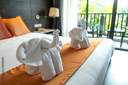 elephant towel in hotel bedroom part of service that mean welcome