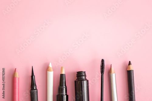 set of cosmetic products on pink background - 115782861
