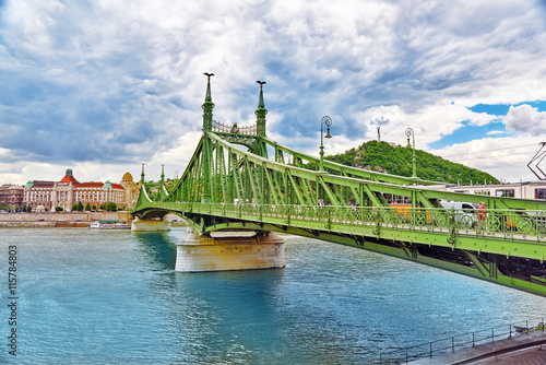 Foto op Canvas Europa BUDAPEST, HUNGARY-MAY 06, 2016: Liberty Bridge in Budapest,bri